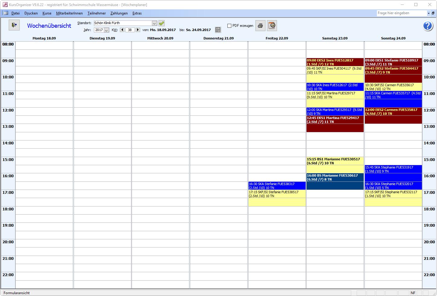 Wochenplaner der Kursverwaltungssoftware
